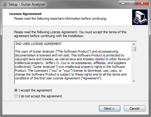 Guitar Analyzer License Agreement