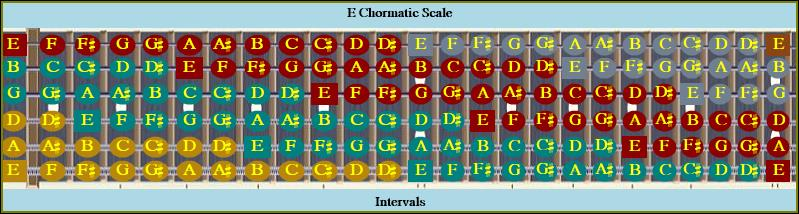 E Chromatic Octave Colored