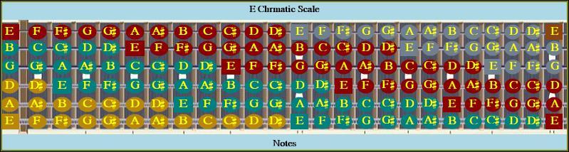 E Chromatic Octave Colored